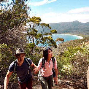 Climb to the top to see views overlooking Wineglass Bay in Tasmania.
