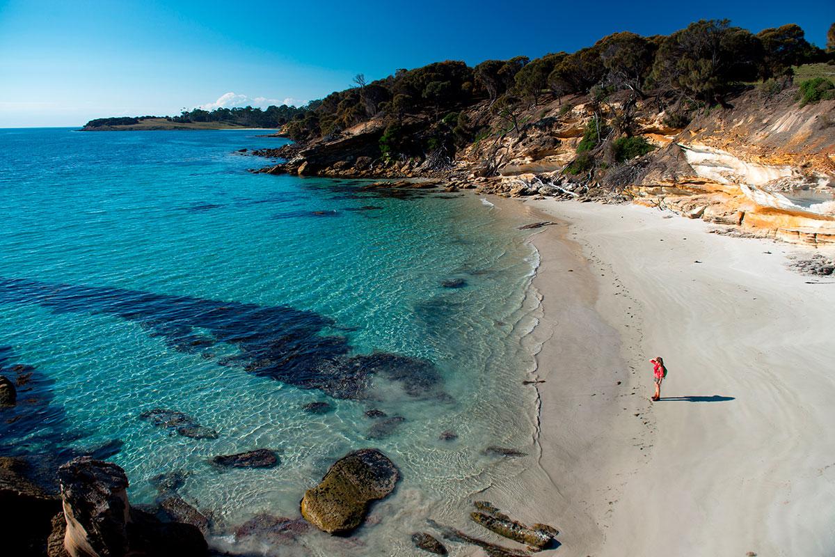 Walk along pristine, white sand beaches on the Maria Island Walk in Tasmania.